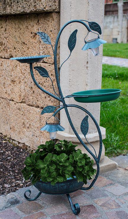 Flower Plant Stands Saucer Bird Bath Outdoor Solar Stand Lamp Garden Bird Bath Green  Harms 315128 – Bild 9