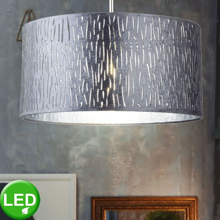 LED velvet pendant light, silver metallic, D 40 cm, TAROK – Bild 2