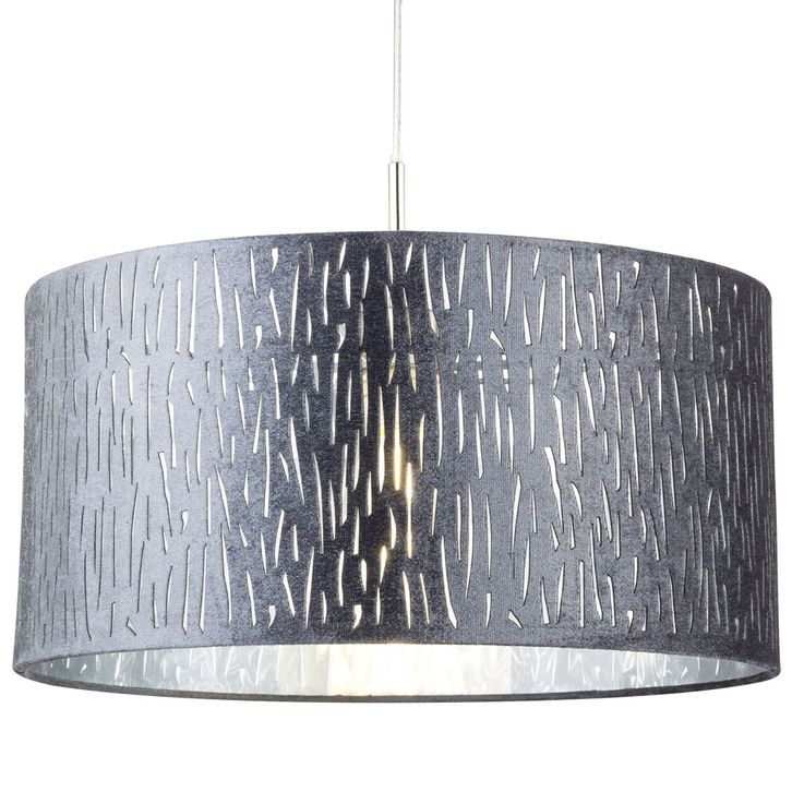 LED velvet pendant light, silver metallic, D 40 cm, TAROK – Bild 5
