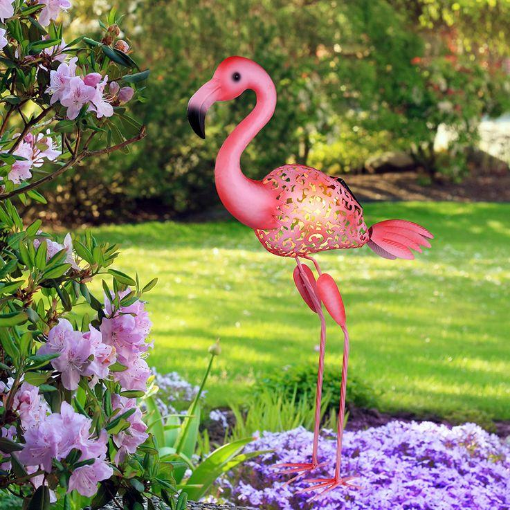 LED Außen Solar Steh Lampe Stand Deko Flamingo Vogel Grundstück Beet Lampe pink Globo 33202 – Bild 4