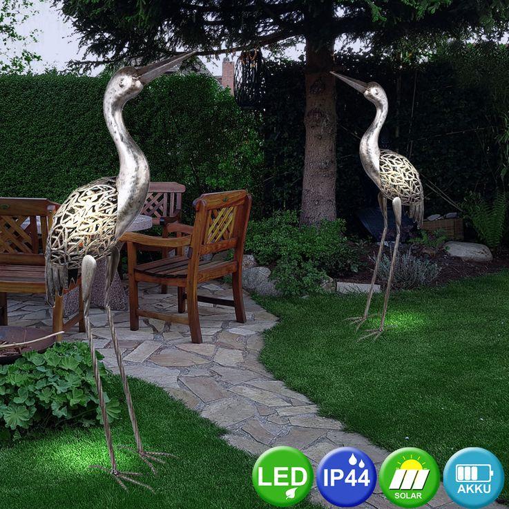 LED Solar Leuchte Steh Stand Kranich Garten Terrassen Deko Beet Lampe grau antik Globo 33216 – Bild 3