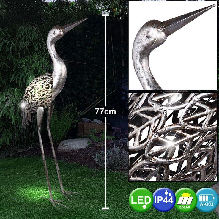 LED Solar Leuchte Steh Stand Kranich Garten Terrassen Deko Beet Lampe grau antik Globo 33216 – Bild 2