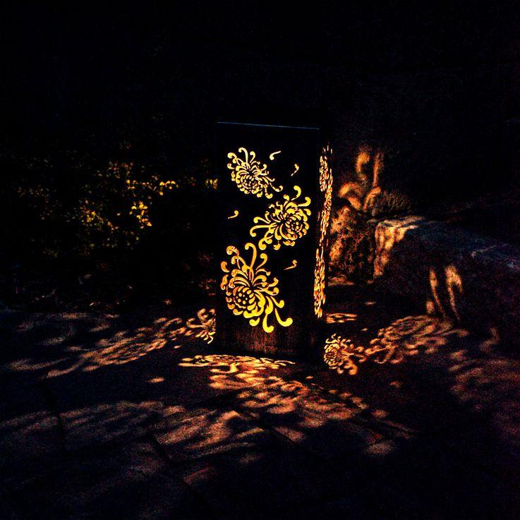 LED Solar Stand Light Die Cut Rusty Garden Patio Lighting Flower Lamp Globo 33483R – Bild 4