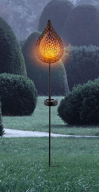 Lampe solaire à LED, design flamme, hauteur 90 cm – Bild 5