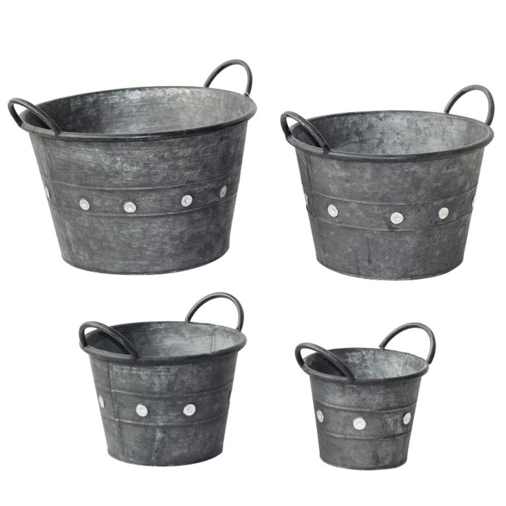 Gartendekoration - 4er Set Pflanztöpfe, Metall schwarz, verschiedene Größen  - Onlineshop ETC Shop