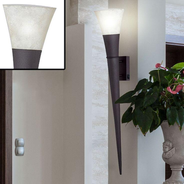 2x LED sconces, torch, rust color, height 80 cm, TORCIA – Bild 4
