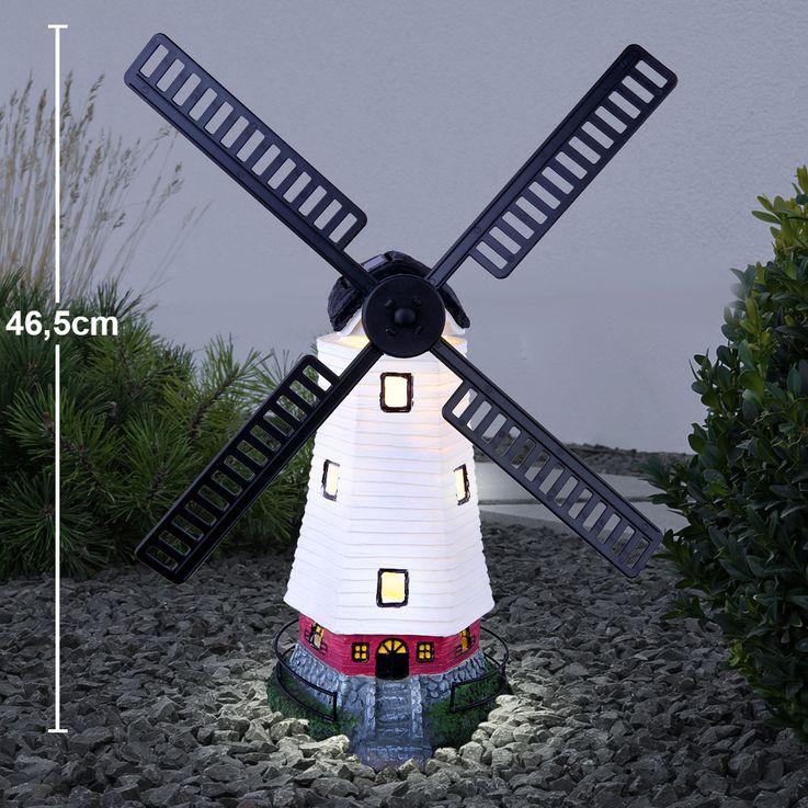 LED Außen Solar Steh Lampe Windmühle Flügel Terrassen Veranda Stand Deko Leuchte Globo 33554 – Bild 2