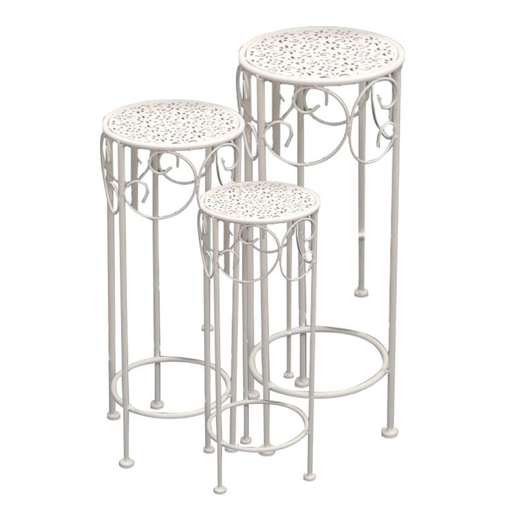 3x Side Tables Flowers Stool Ornaments Guest Room Storage Cream White  Noor 55524 – Bild 1