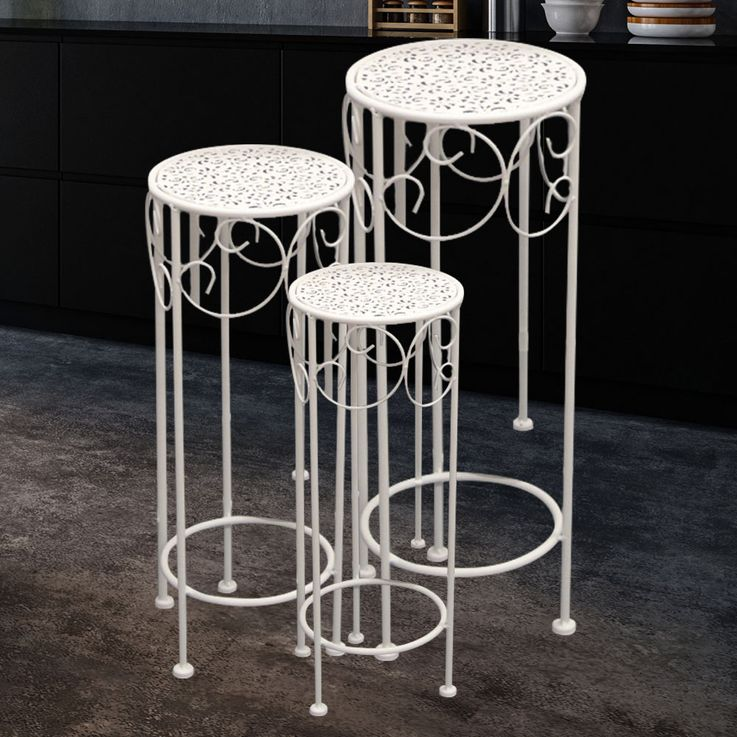 3x Side Tables Flowers Stool Ornaments Guest Room Storage Cream White  Noor 55524 – Bild 2