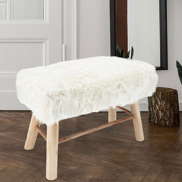 Seat Bench Furniture Stool Faux Fur White Dining Room Wood Bench Furniture Shorthair  Noor 50290 – Bild 2