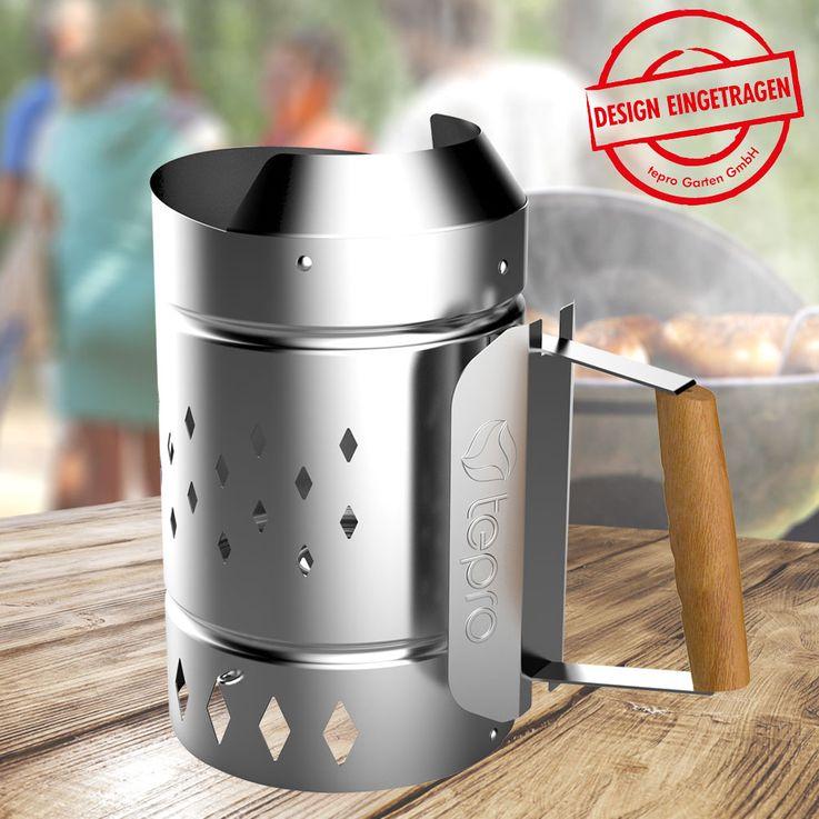 Anzünd Kamin XL Stahl verzinkt Kohle Starter Brikett Schnell Anzünder Grill Zubehör Tepro 8331 – Bild 2