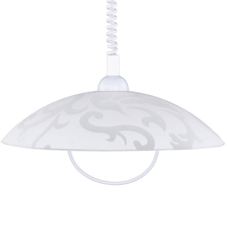 Ornament ceiling pendant lamp white living dining room glass hanging lamp height adjustable Honsel 78031 – Bild 5