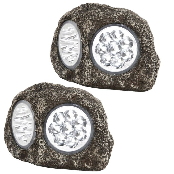 Set of 2 LED Solar Lamps Stone Design Garden Path Beet Lighting Patio Stand Lights Gray – Bild 1