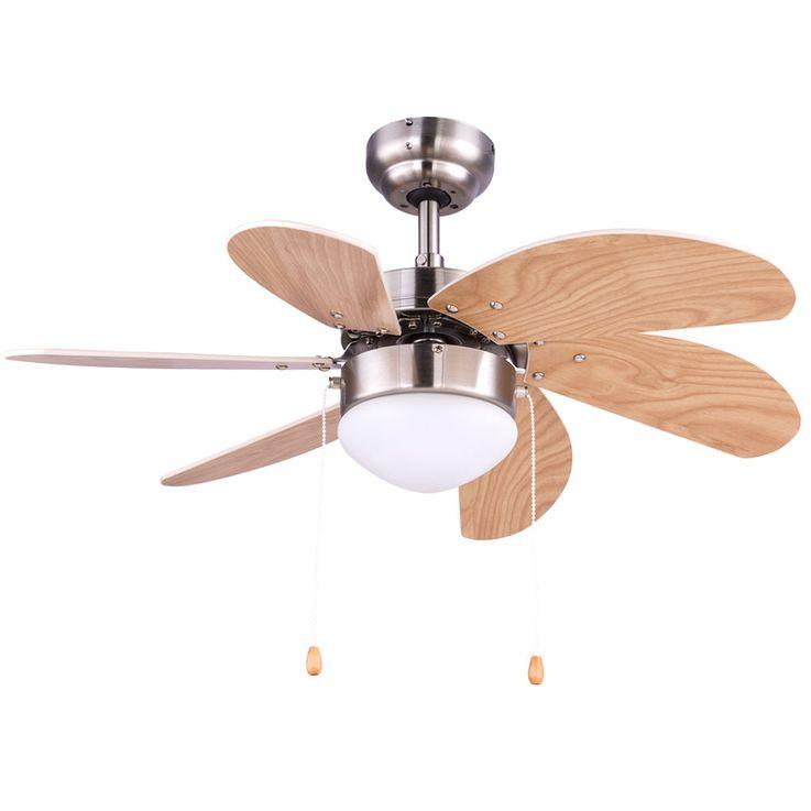 Ceiling fan pull switch lamp radiator heater glass light beech wind machine 78 cm  Globo 03301 – Bild 1