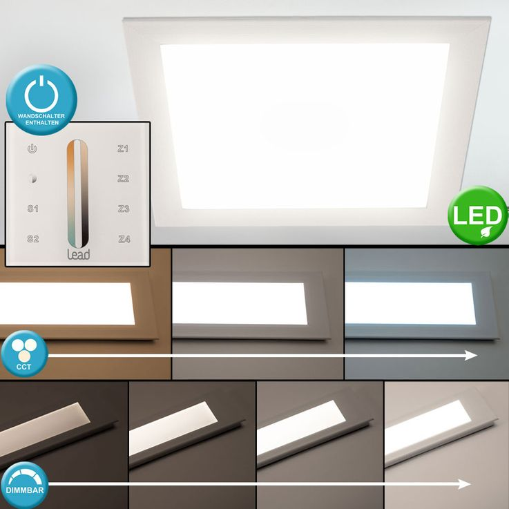 LED daylight ceiling recessed panel dimmable wall switch lamp living room lighting CCT circuit – Bild 2