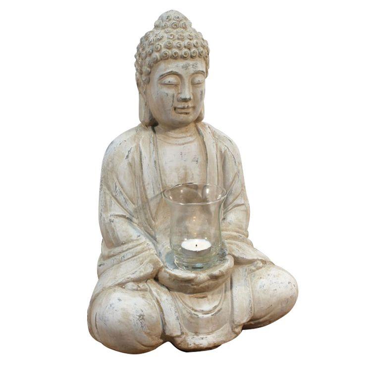 Buddha Table Figurine Decorative Candlestick Stand Window Bench Tealight Glass Terracotta NOOR 13056 – Bild 1