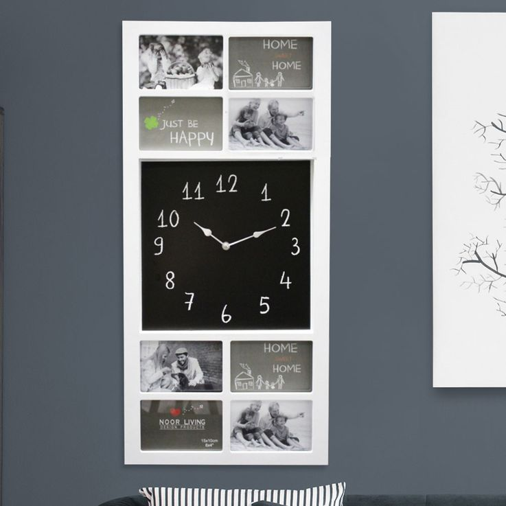 Wall clock photo frames frame sleep guests room analog time display digits white NOOR 69593 – Bild 2