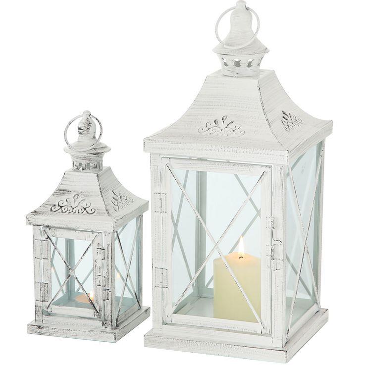 Set of 2 Indoor Outdoor Lanterns Balcony Lanterns Metal White Shabby Chic Glass Door Living Room Decoration – Bild 1