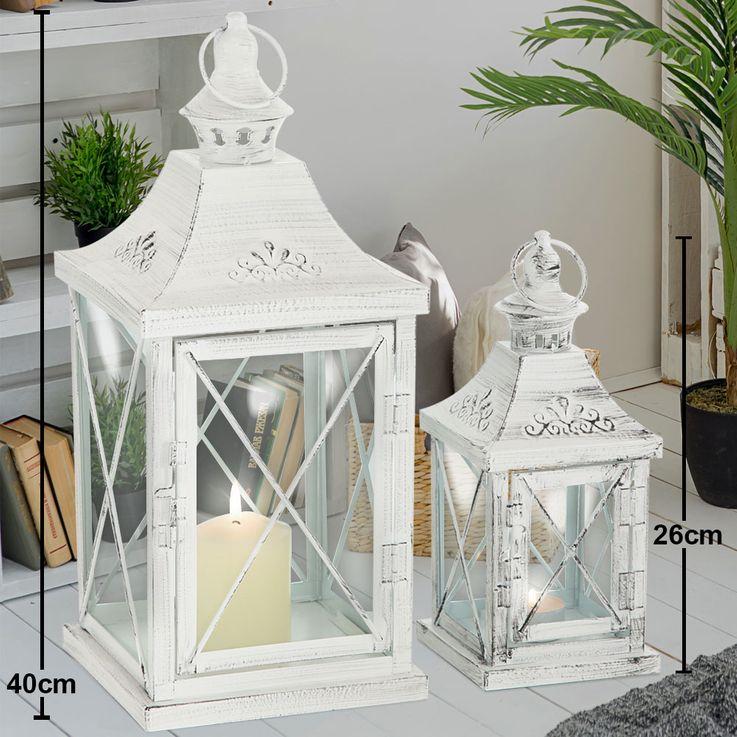 Set of 2 Indoor Outdoor Lanterns Balcony Lanterns Metal White Shabby Chic Glass Door Living Room Decoration – Bild 2