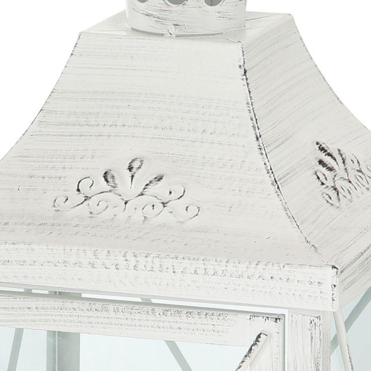 Set of 2 Indoor Outdoor Lanterns Balcony Lanterns Metal White Shabby Chic Glass Door Living Room Decoration – Bild 3