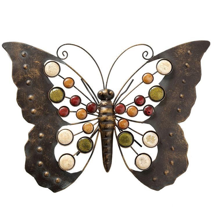 Wall decoration butterfly house facades hanging brown colorful garden terrace  Boltze 2713600 – Bild 1