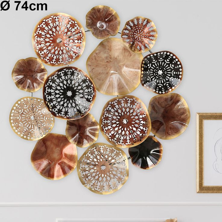 Wall picture object decoration art living dining room drapery multicolored ornament  Boltze 1004411 – Bild 2