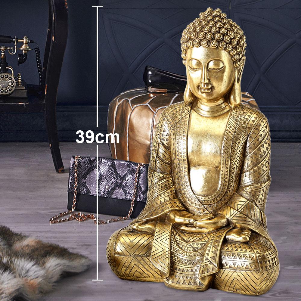 Decorative Gold Buddha Figurine Ornament Shelf Sitter