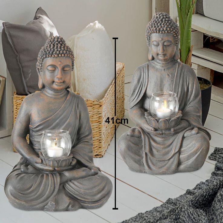 Set of 2 Buddha Figurine with Wind Light Feng Shui Sculpture Decoration Magnesia brown  Boltze 7365200 – Bild 2