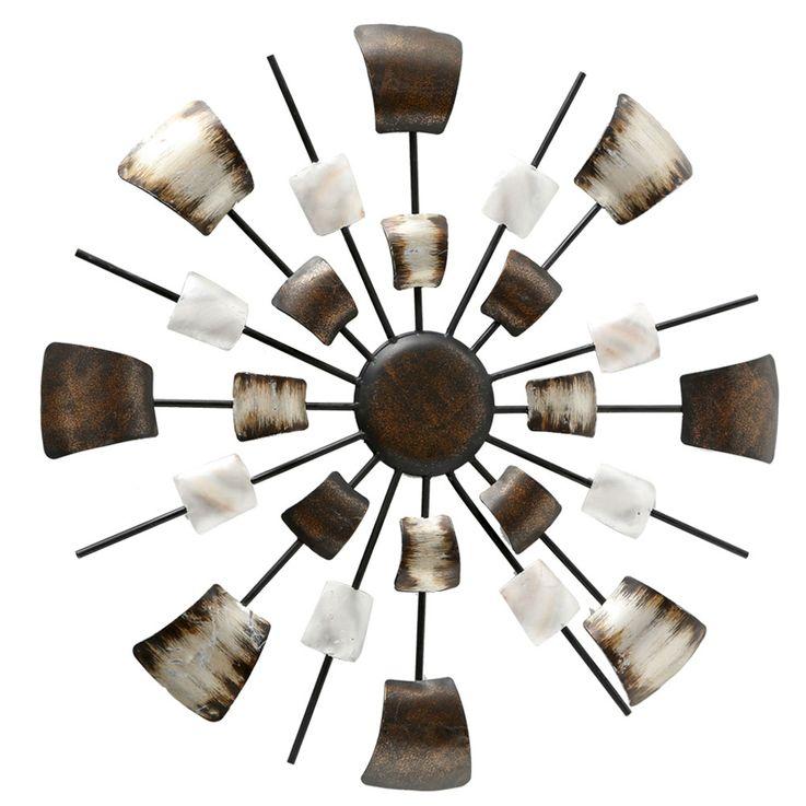 Wall decoration picture deco art sleep guests room drapery brown beige round  Boltze 4679400 – Bild 1
