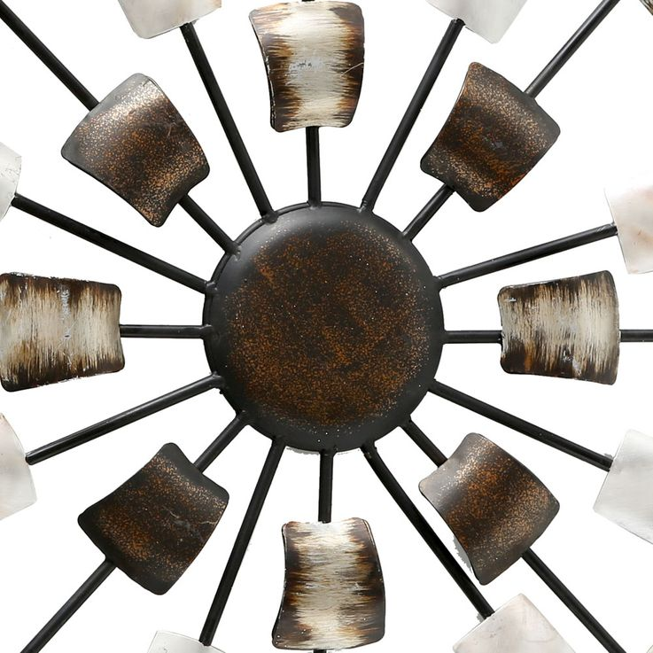 Wall decoration picture deco art sleep guests room drapery brown beige round  Boltze 4679400 – Bild 3