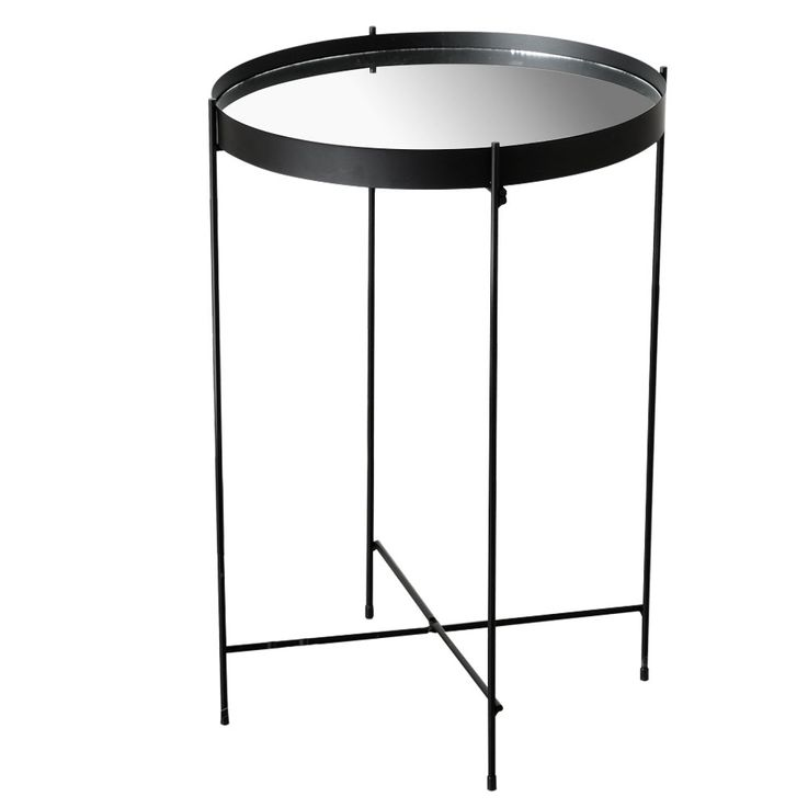 Side Table Living Dining Bed Bedroom Decoration Storage Plant Stand Iron Black Height 43cm MALCOLM – Bild 1