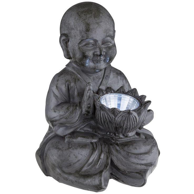 LED Solar Outdoor Lamp Buddha Deco Figurine Asia Feng Shui Garden Lighting Terrace Light Gray – Bild 4