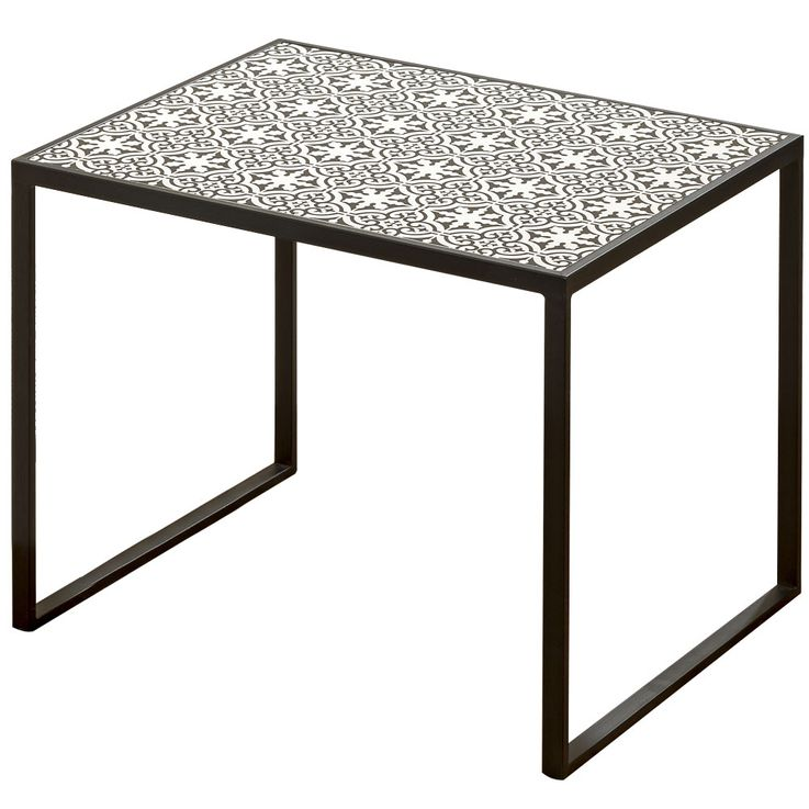 Set of 2 Beistell Living Room Tables Black White Pattern Ornaments Boltze 7406100 – Bild 3