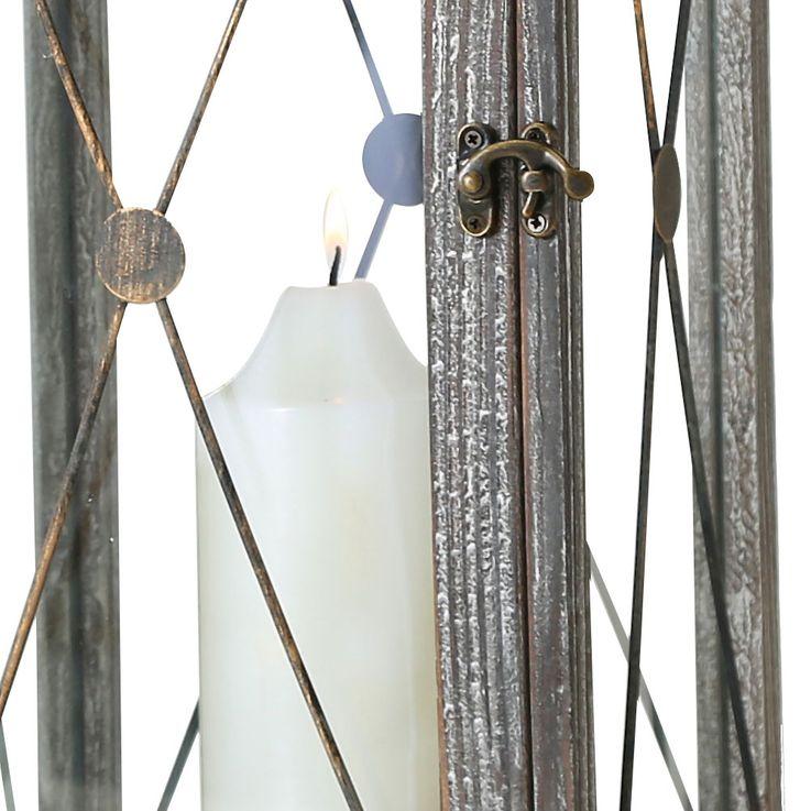 Set of 2 Indoor Outdoor Lanterns Balcony Lanterns Wood Gray Shabby Chic Glass Door Living Room Decoration – Bild 4