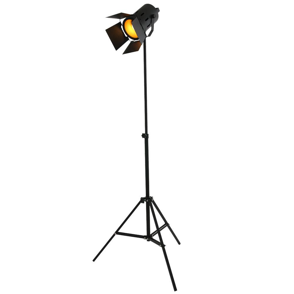 Stehleuchte Spot Studio Stativstrahler Schwarz Gold Meinelampe