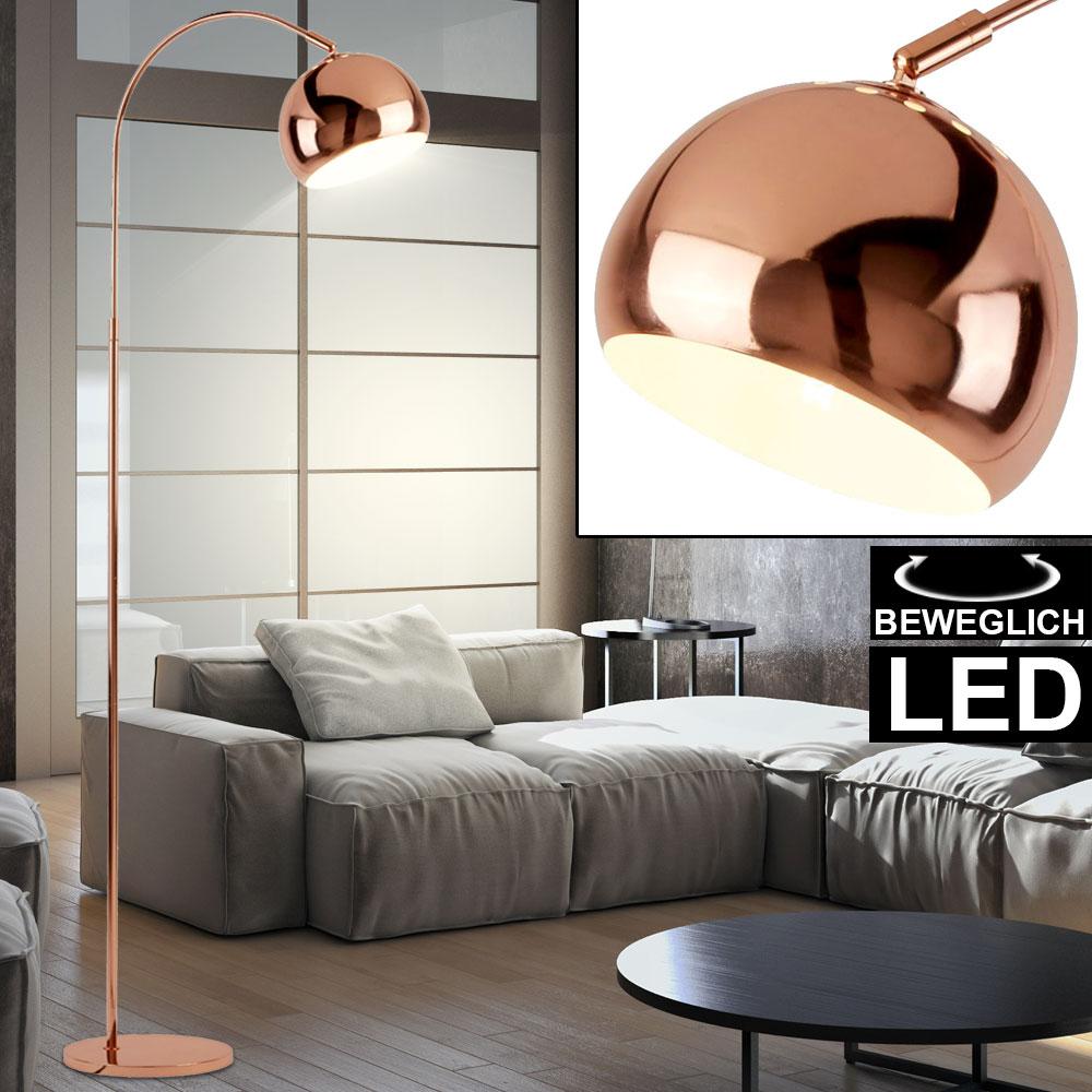 Led Bogen Steh Lampe Kupfer Buro Retro Design Spot Stand Leuchte