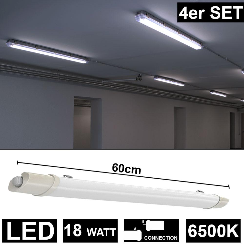 4er Set LED 18 Watt Decken Wannen Leuchten Tageslicht Lager Hallen Beleuchtungen