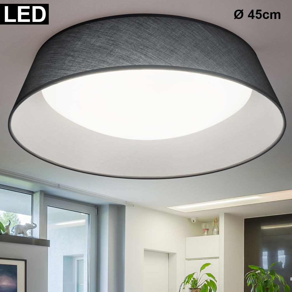 Led Ceiling Light Fabric Gray Round