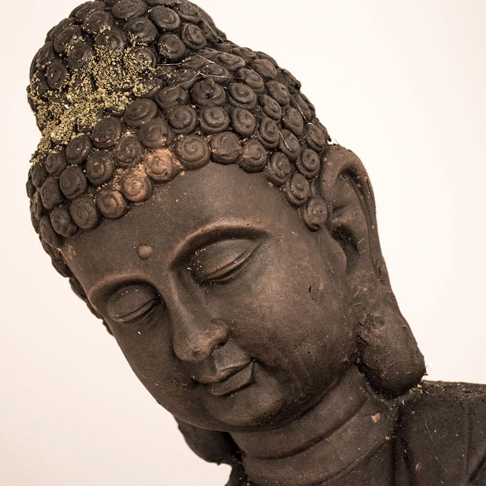 Buddha Figur Magnesia Außen Dekoration braun Asia Design Garten Statue 81 cm