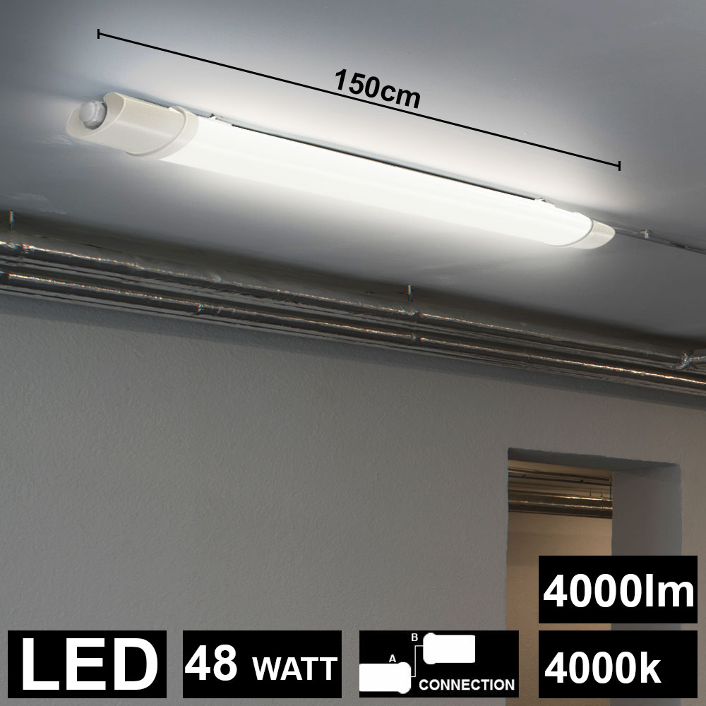 3er Set LED 48 W Industrie Lager Hallen Tageslicht Decken Wannen Big Light