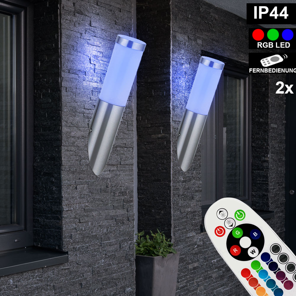 RGB LED Fackel Wand Leuchte FERNBEDIENUNG Außen Bewegungsmelder Lampe dimmbar