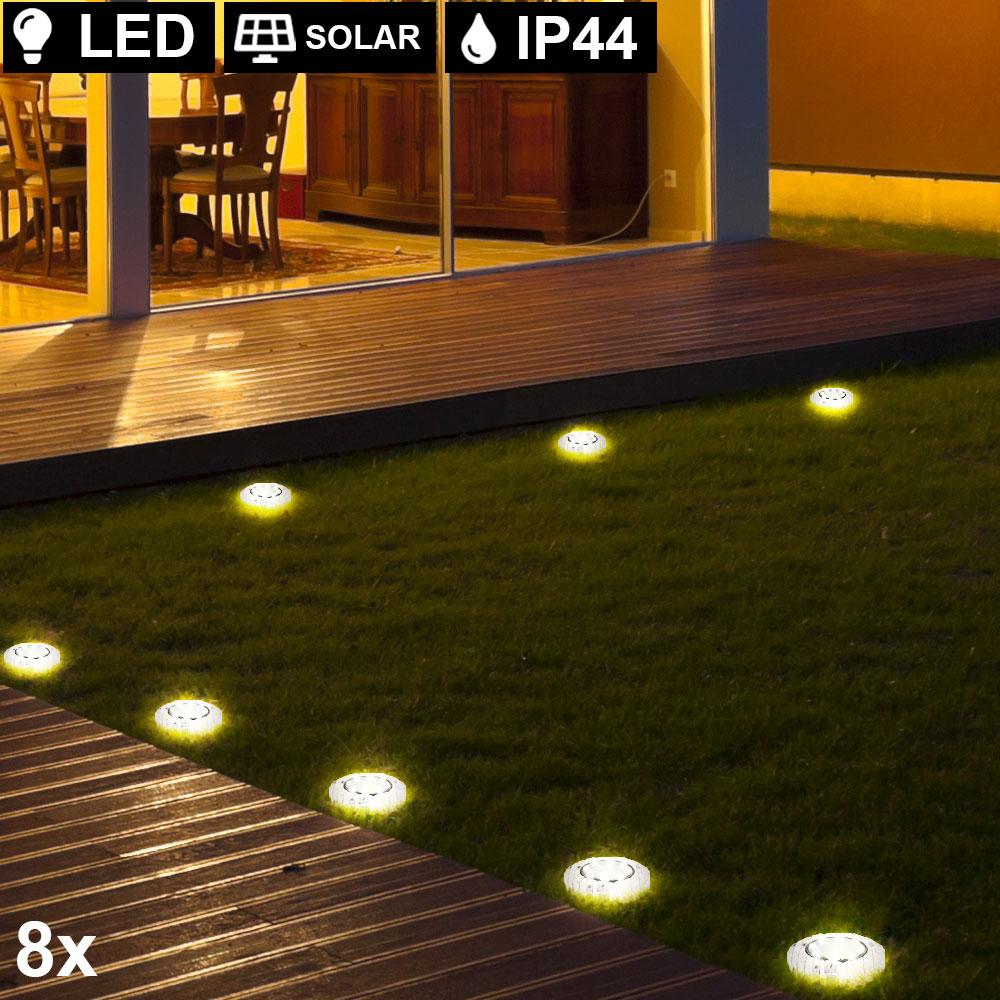 Set of 8 LED solar lights, stone look, D 8.8 cm