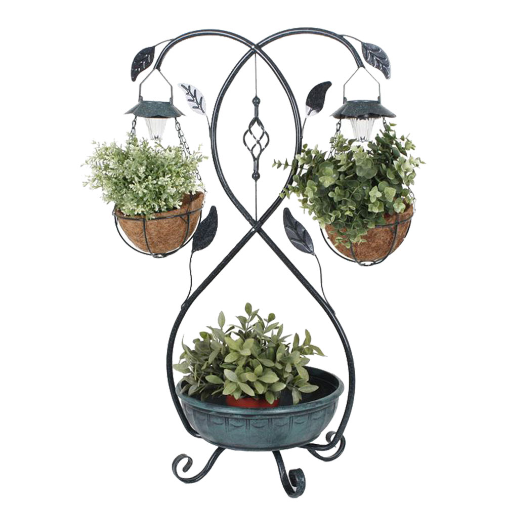 Plant stand with solar LED lighting, H 8 cm