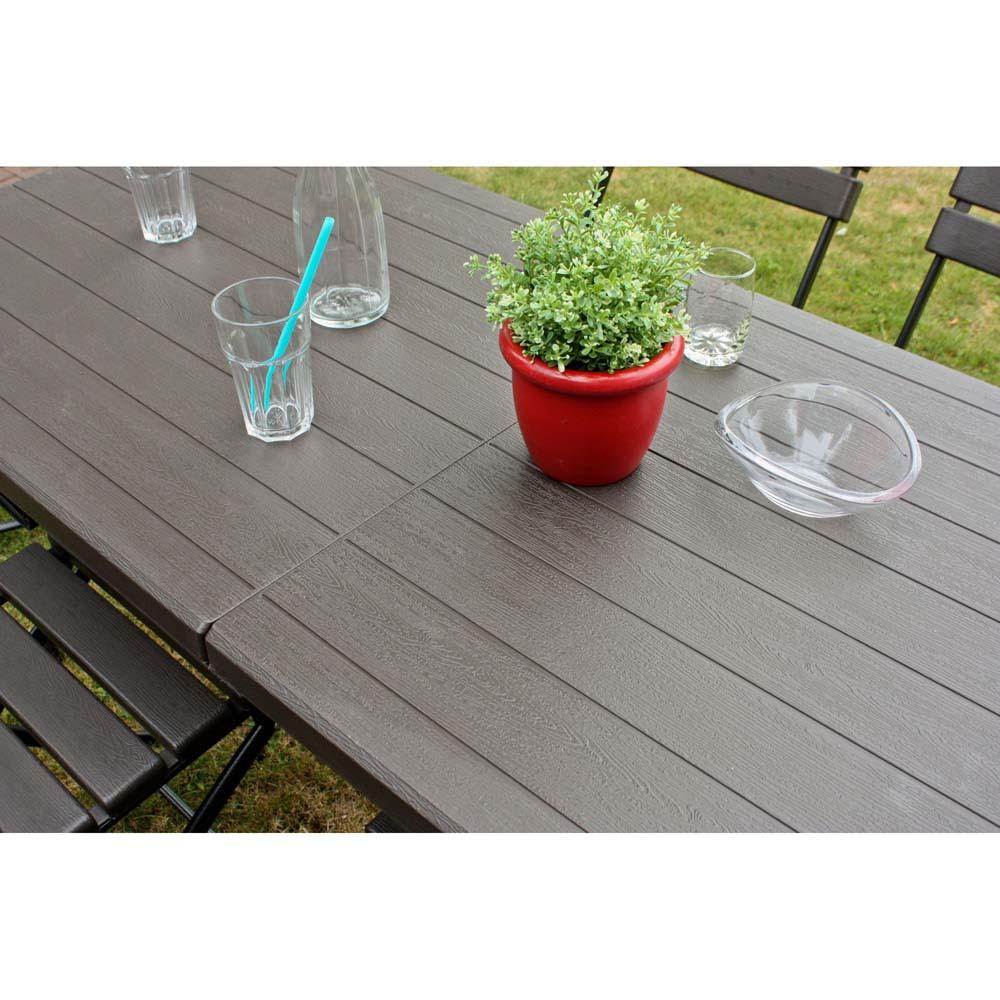 Gartentische - Klapptisch, Holz, Stahl, braun, schwarz, HDPE, Höhe 73 cm  - Onlineshop ETC Shop