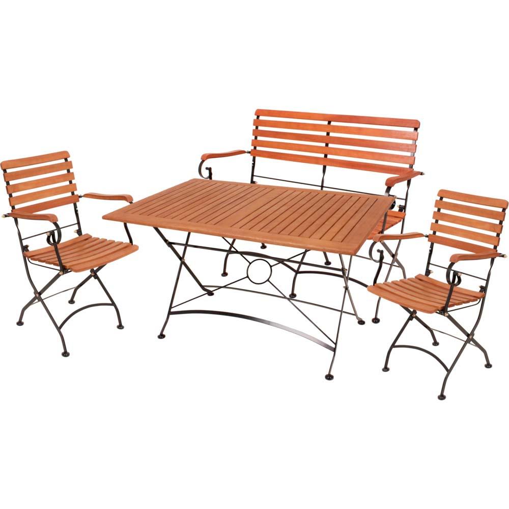 Gartenmöbel Sets - Tischgruppe WIEN, 4 teilig, Tisch, 2 Stühle, Bank, Eukalyptus  - Onlineshop ETC Shop