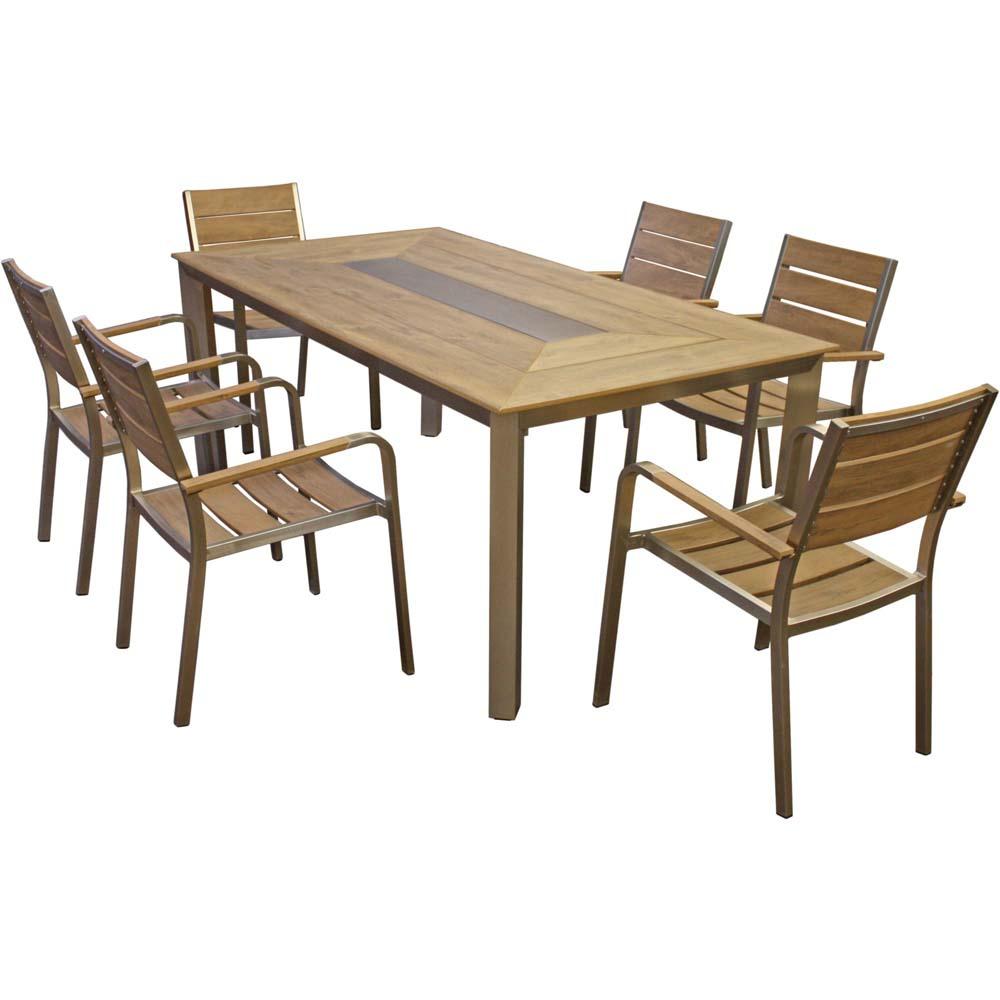 Gartenmöbel Sets - Tischgruppe, Aluminium, Champagner, Polystyrol, Höhe 85 cm  - Onlineshop ETC Shop