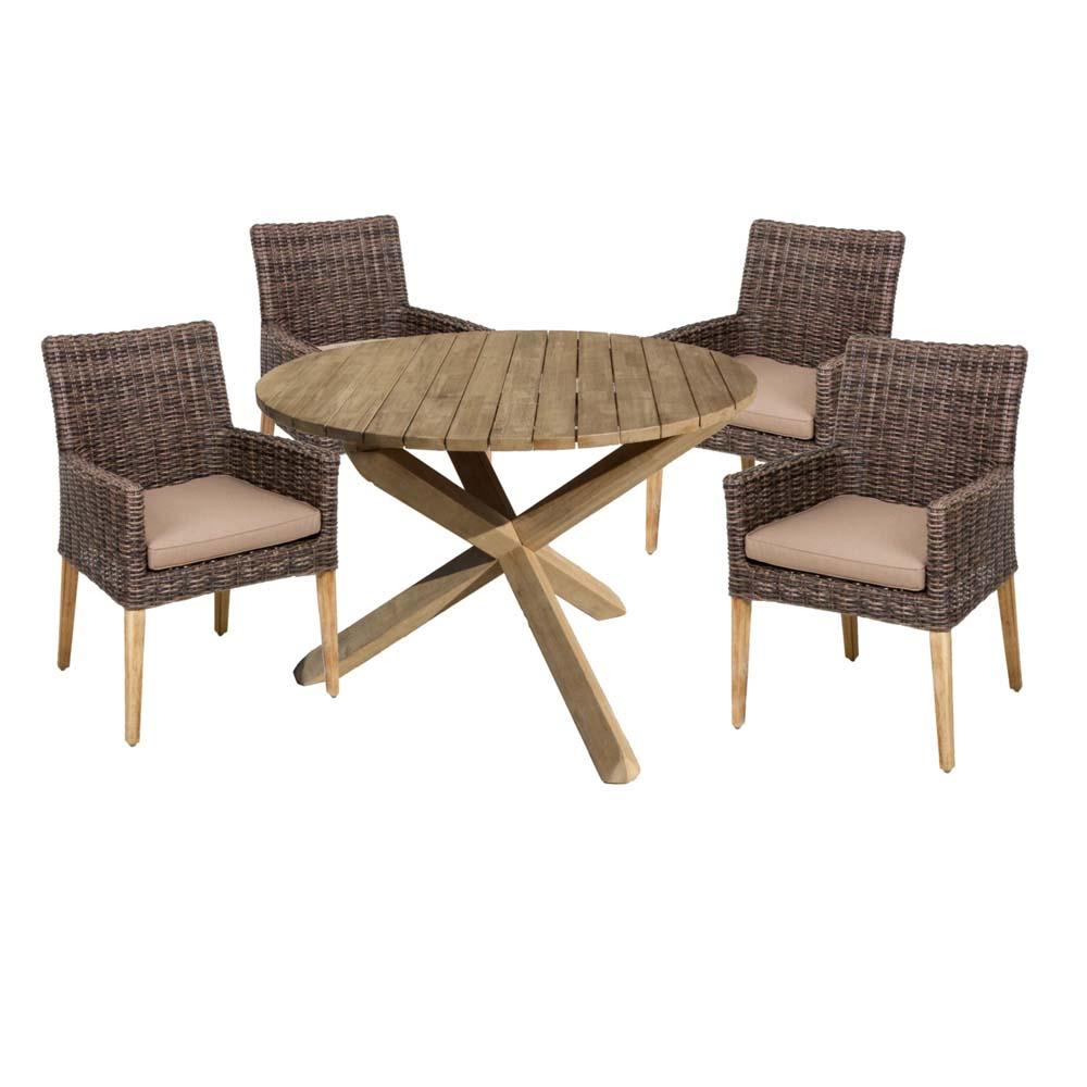 Gartenmöbel Sets - Tischgruppe MELFORT NORVELL, 5 teilig, Aluminium, Akazie  - Onlineshop ETC Shop