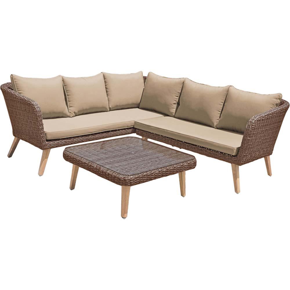 Loungemöbel - Lounge Set PAMPLONA, Aluminium, anisbraun, Akazie  - Onlineshop ETC Shop