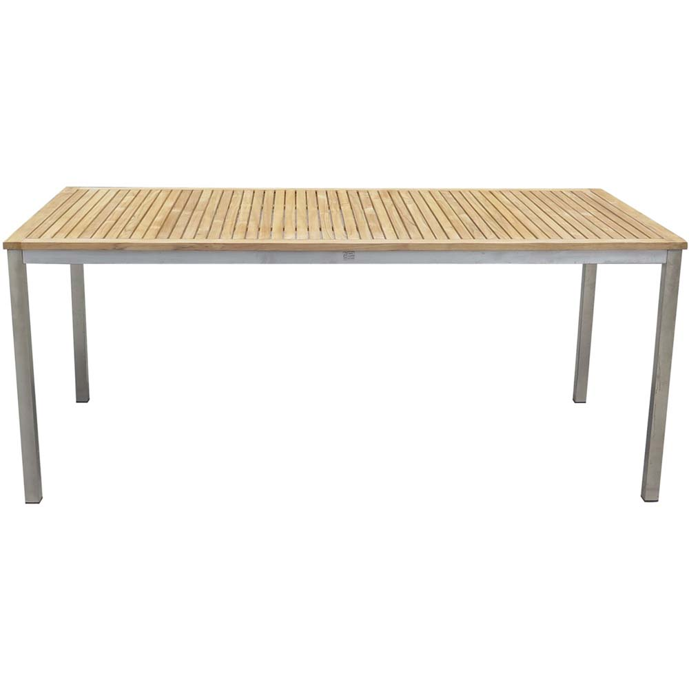 Gartentische - Tisch, Edelstahl gebürstet, TEAK, DENVER  - Onlineshop ETC Shop