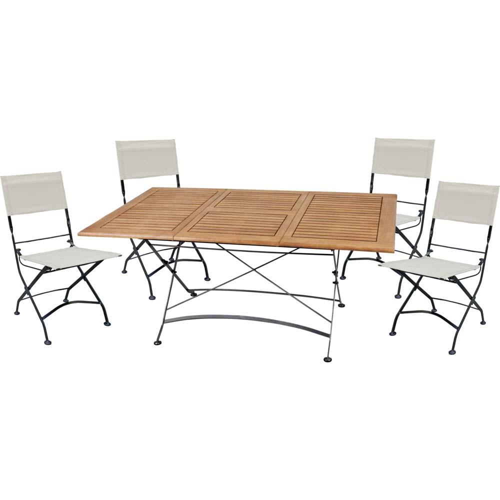 Gartenmöbel Sets - Tischgruppe TRIEST, 5 teilig, Stahl, Eukalyptus Grandis  - Onlineshop ETC Shop